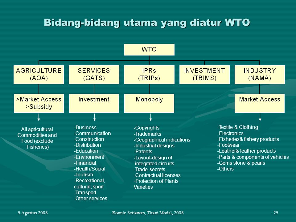 Bidang-bidang utama yang diatur WTO