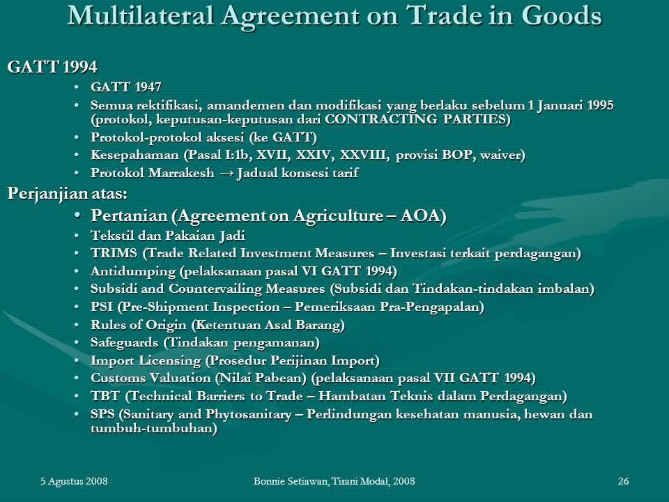 Multilateral Agreement on Trade in Goods