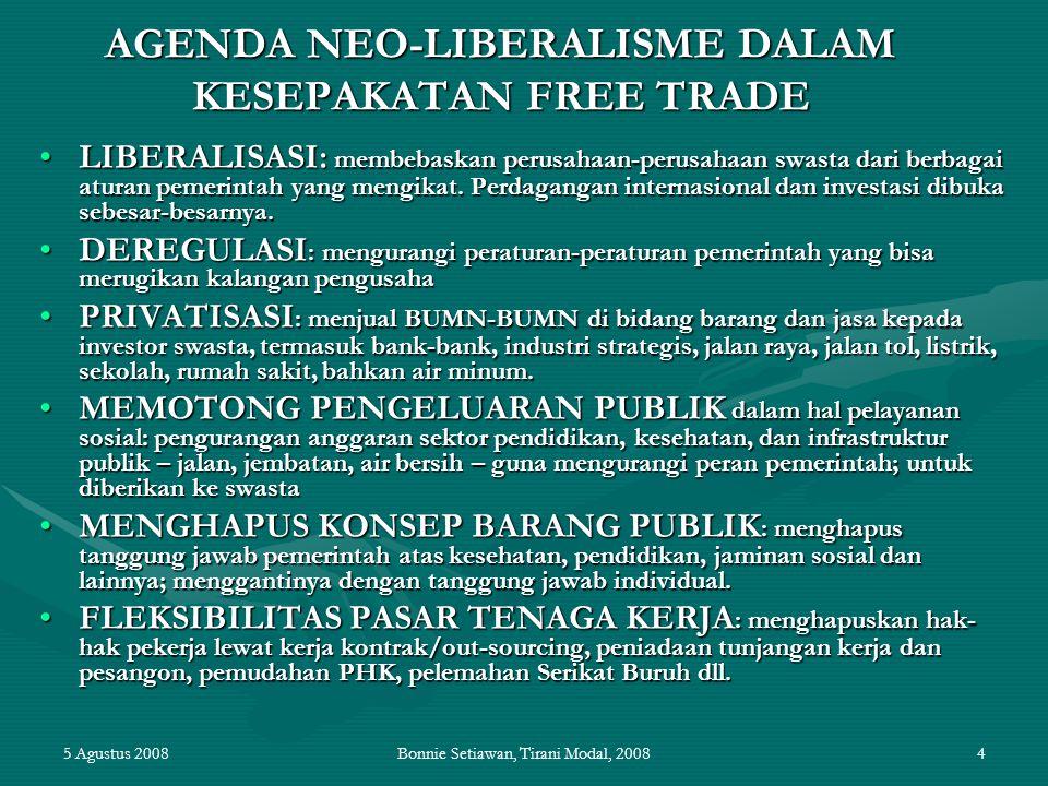 AGENDA NEO-LIBERALISME DALAM KESEPAKATAN FREE TRADE
