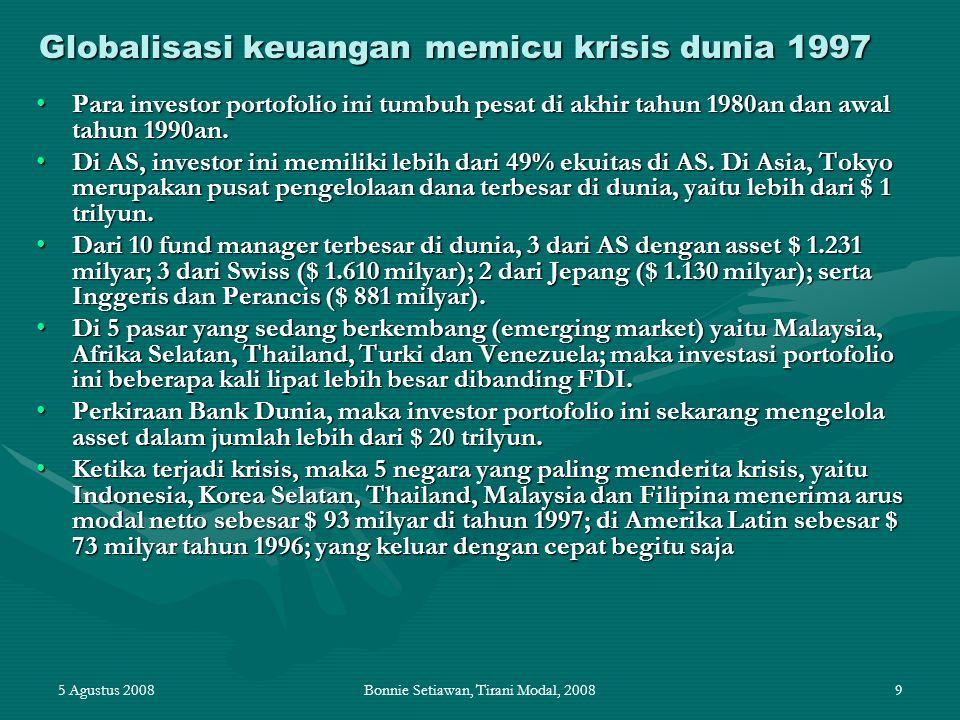 Globalisasi keuangan memicu krisis dunia 1997
