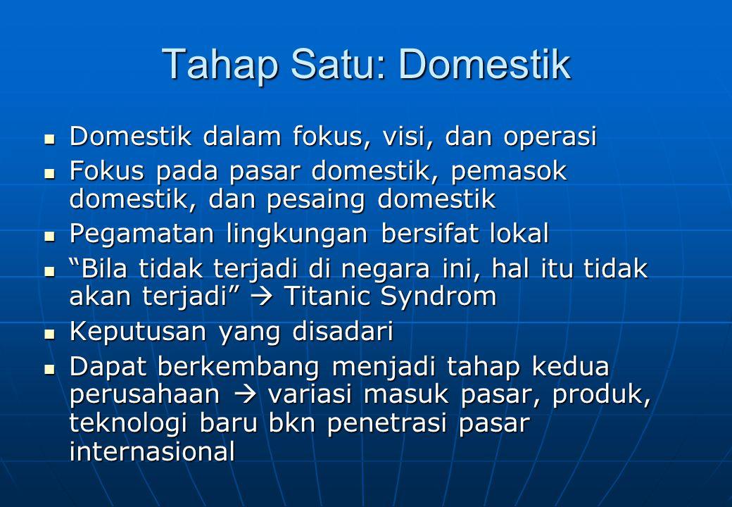 Tahap Satu: Domestik Domestik dalam fokus, visi, dan operasi