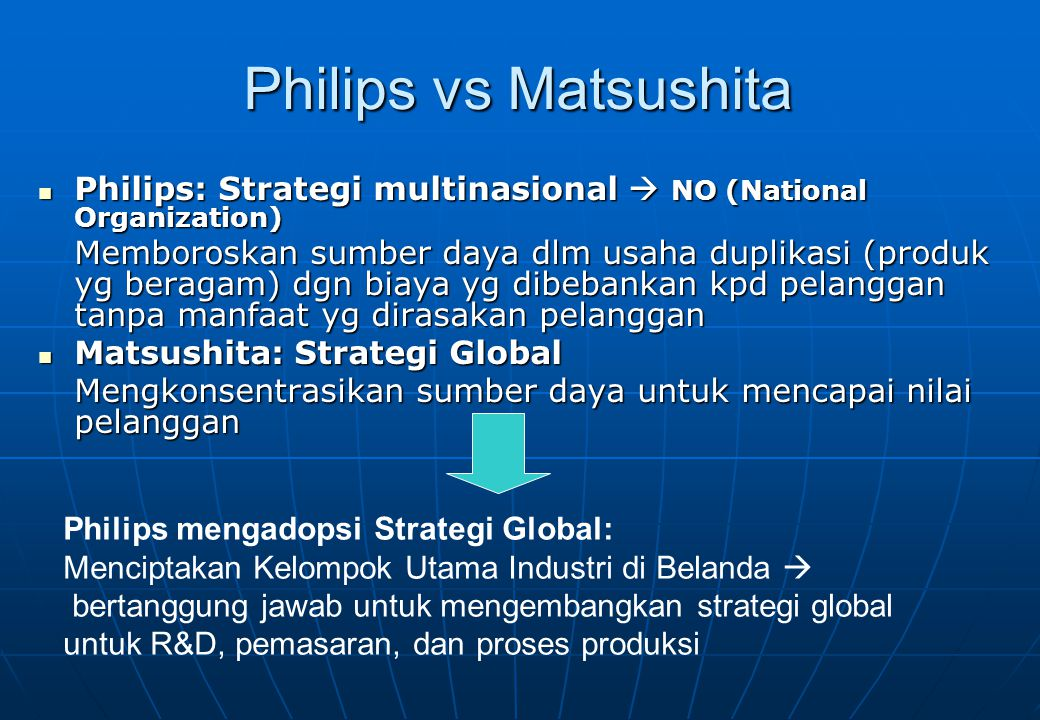 Philips vs Matsushita Philips: Strategi multinasional  NO (National Organization)