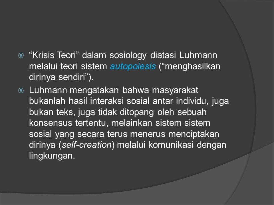 Krisis Teori dalam sosiology diatasi Luhmann melalui teori sistem autopoiesis ( menghasilkan dirinya sendiri ).