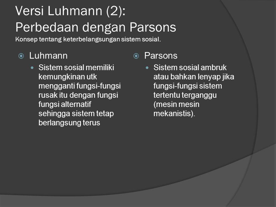 Versi Luhmann (2): Perbedaan dengan Parsons Konsep tentang keterbelangsungan sistem sosial.