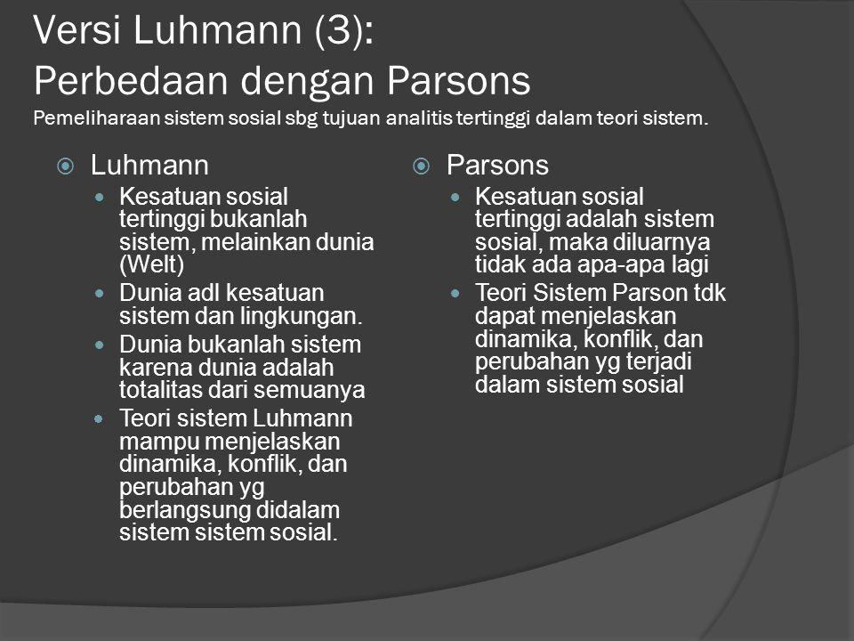 Versi Luhmann (3): Perbedaan dengan Parsons Pemeliharaan sistem sosial sbg tujuan analitis tertinggi dalam teori sistem.