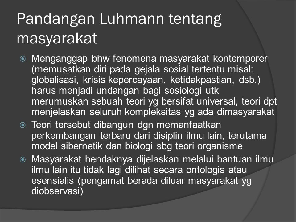 Pandangan Luhmann tentang masyarakat