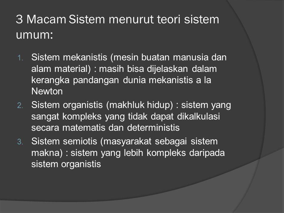 3 Macam Sistem menurut teori sistem umum: