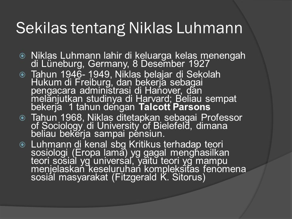 Sekilas tentang Niklas Luhmann