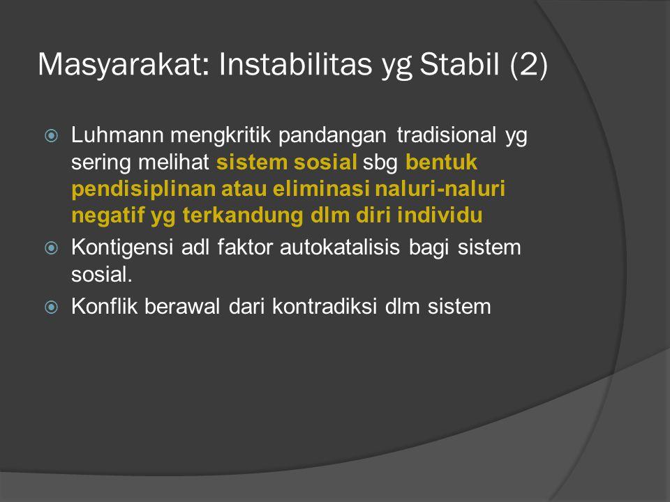 Masyarakat: Instabilitas yg Stabil (2)
