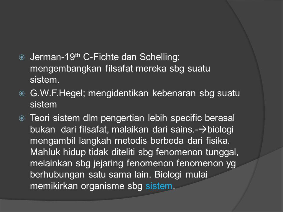 Jerman-19th C-Fichte dan Schelling: mengembangkan filsafat mereka sbg suatu sistem.