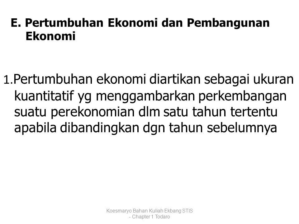 E. Pertumbuhan Ekonomi dan Pembangunan Ekonomi