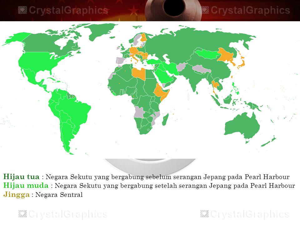 Hijau tua : Negara Sekutu yang bergabung sebelum serangan Jepang pada Pearl Harbour Hijau muda : Negara Sekutu yang bergabung setelah serangan Jepang pada Pearl Harbour Jingga : Negara Sentral