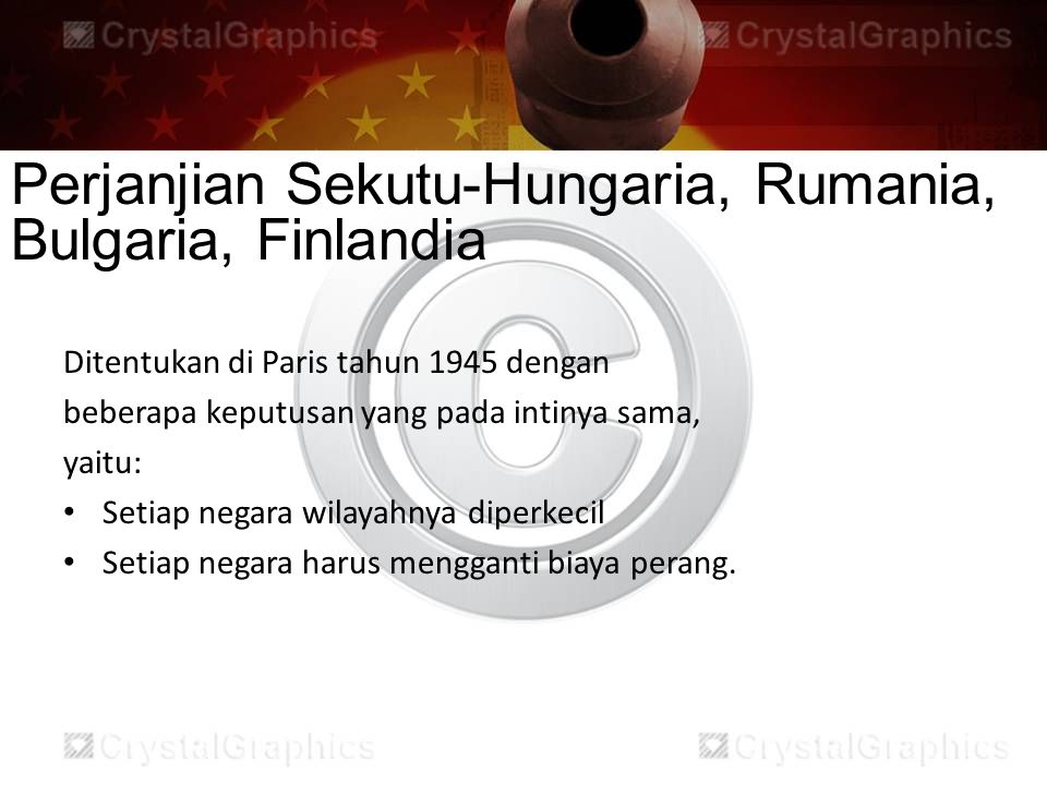 Perjanjian Sekutu-Hungaria, Rumania, Bulgaria, Finlandia