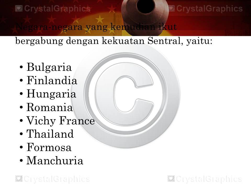 Bulgaria Finlandia Hungaria Romania Vichy France Thailand Formosa