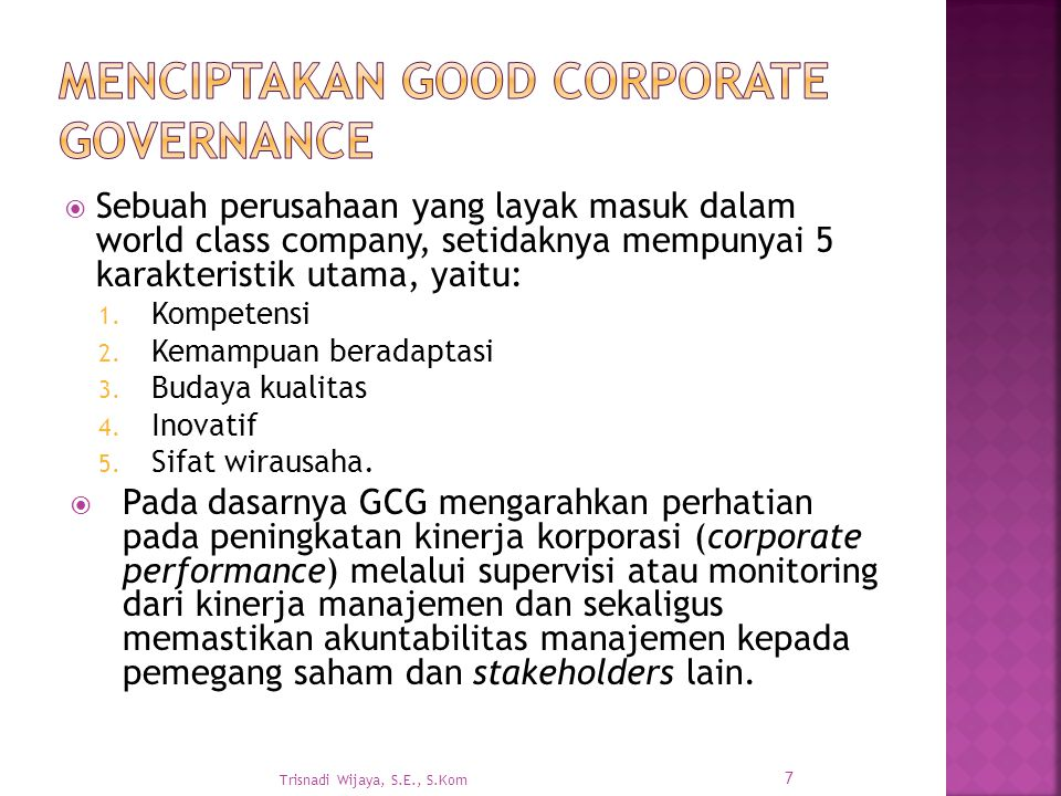 Menciptakan Good Corporate Governance