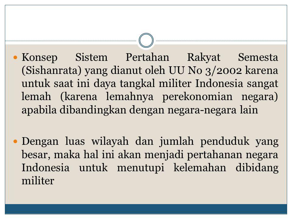 Konsep Sistem Pertahan Rakyat Semesta (Sishanrata) yang dianut oleh UU No 3/2002 karena untuk saat ini daya tangkal militer Indonesia sangat lemah (karena lemahnya perekonomian negara) apabila dibandingkan dengan negara-negara lain