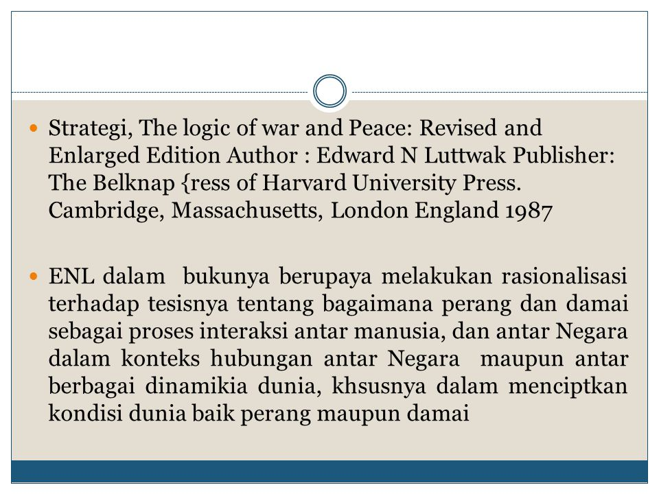 Strategi, The logic of war and Peace: Revised and Enlarged Edition Author : Edward N Luttwak Publisher: The Belknap {ress of Harvard University Press. Cambridge, Massachusetts, London England 1987