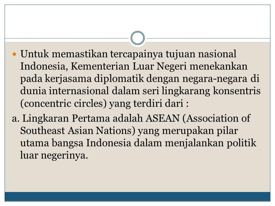 Untuk memastikan tercapainya tujuan nasional Indonesia, Kementerian Luar Negeri menekankan pada kerjasama diplomatik dengan negara-negara di dunia internasional dalam seri lingkarang konsentris (concentric circles) yang terdiri dari :