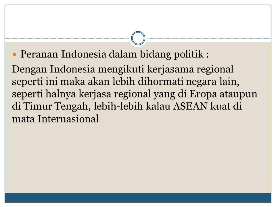Peranan Indonesia dalam bidang politik :