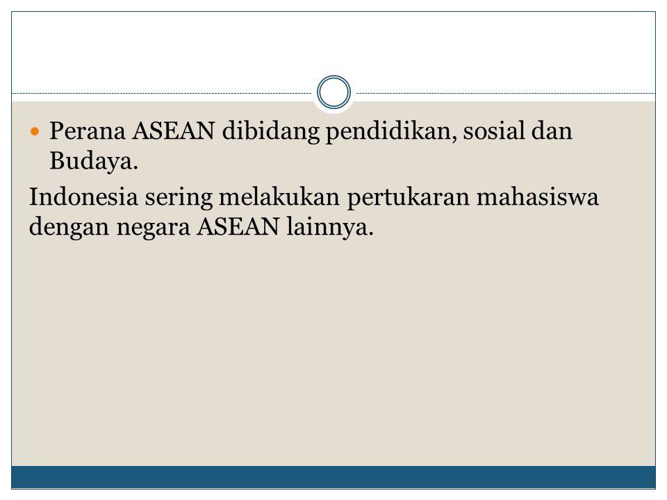 Perana ASEAN dibidang pendidikan, sosial dan Budaya.