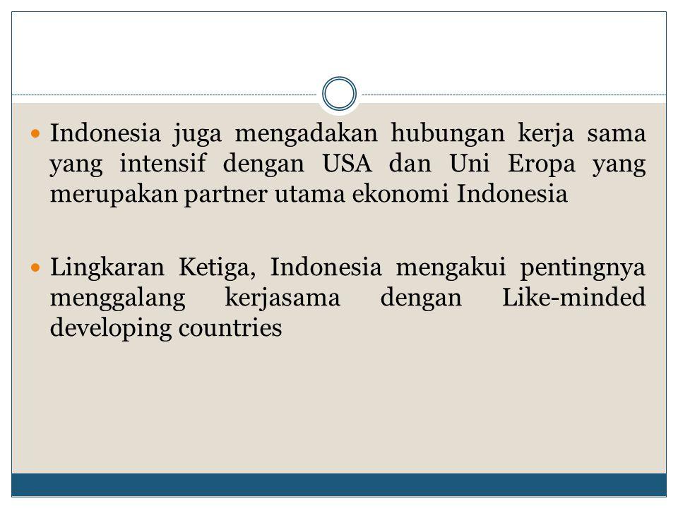 Indonesia juga mengadakan hubungan kerja sama yang intensif dengan USA dan Uni Eropa yang merupakan partner utama ekonomi Indonesia