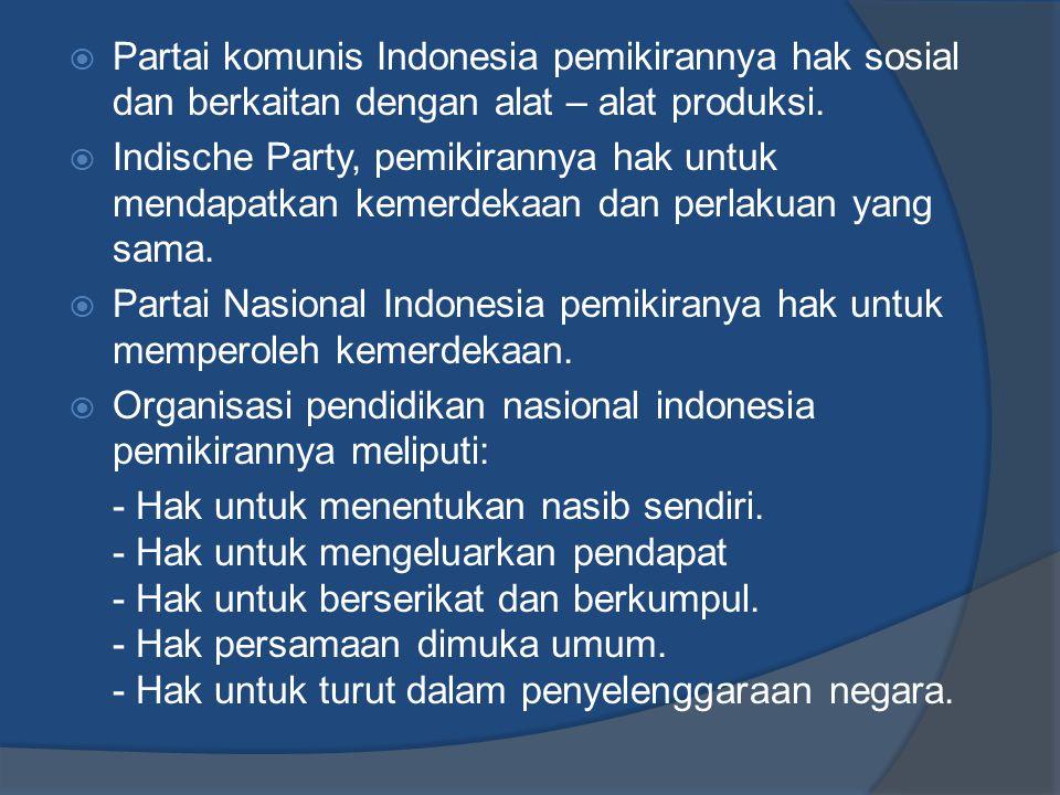 Partai komunis Indonesia pemikirannya hak sosial dan berkaitan dengan alat – alat produksi.
