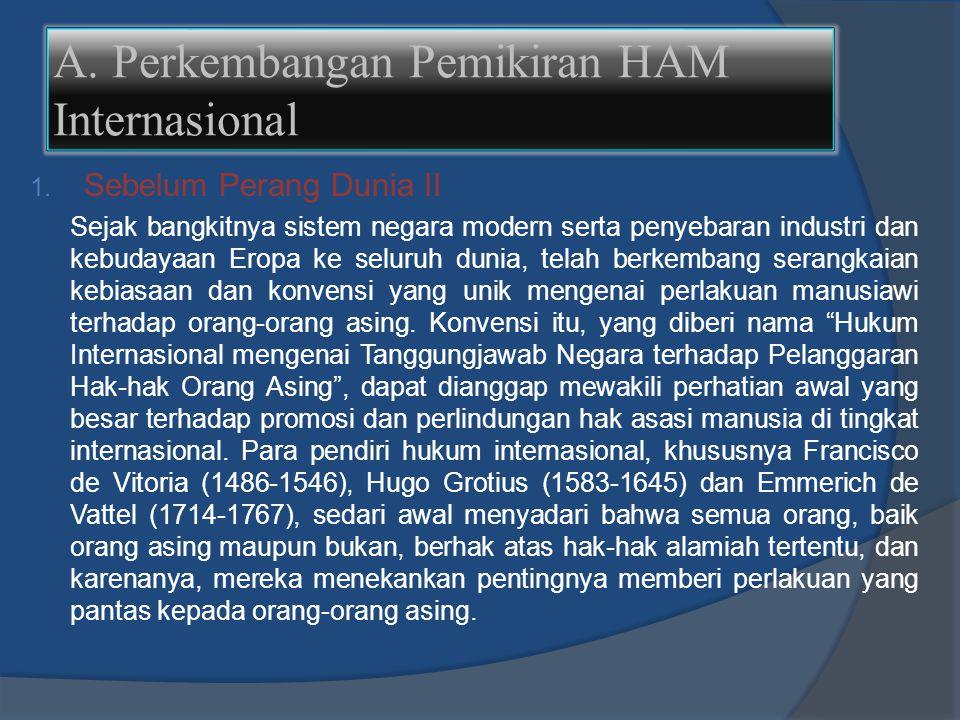A. Perkembangan Pemikiran HAM Internasional