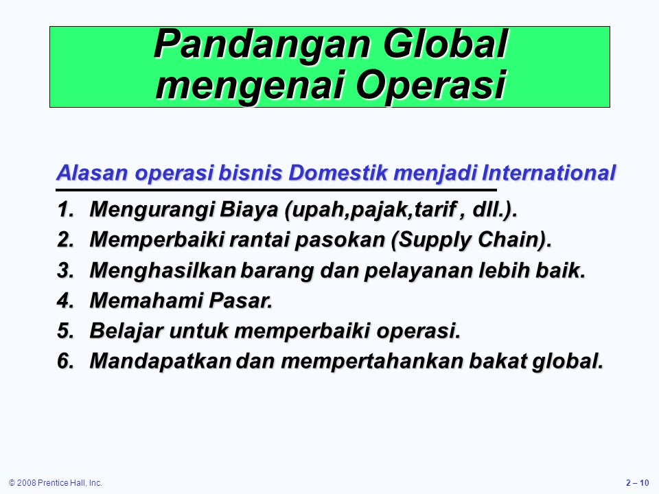 Pandangan Global mengenai Operasi