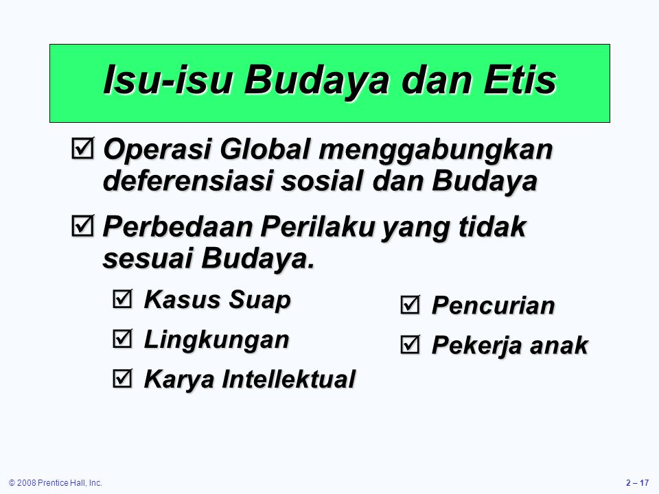 Isu-isu Budaya dan Etis