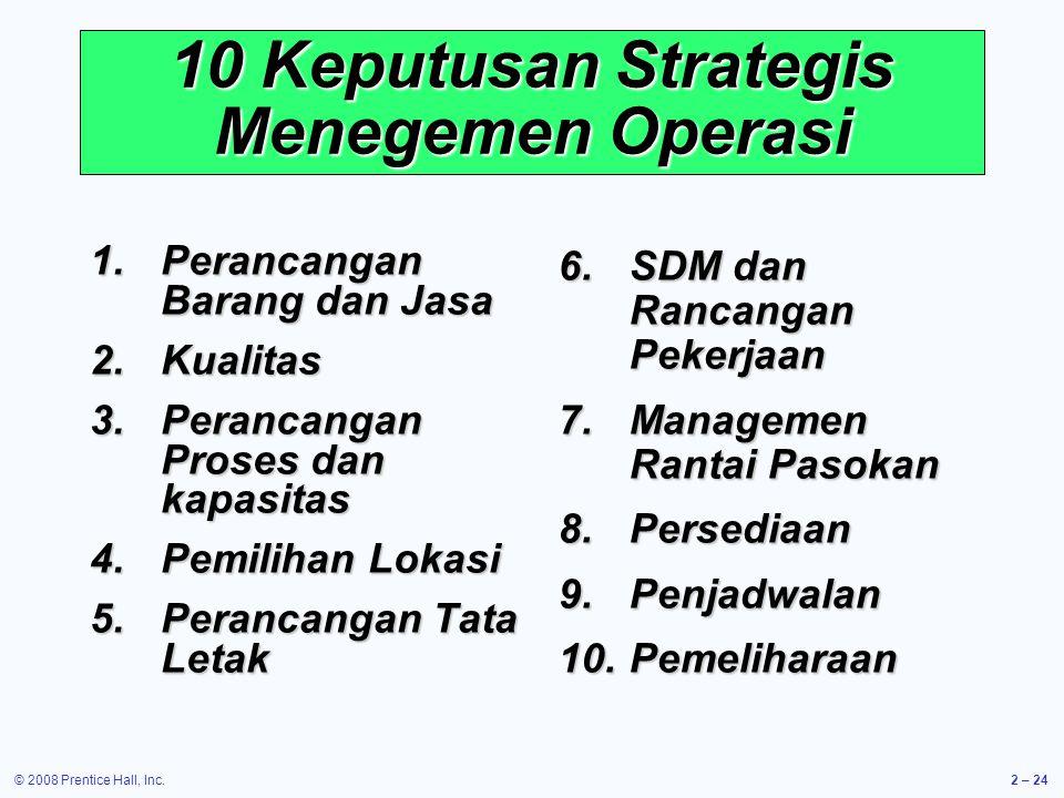 10 Keputusan Strategis Menegemen Operasi