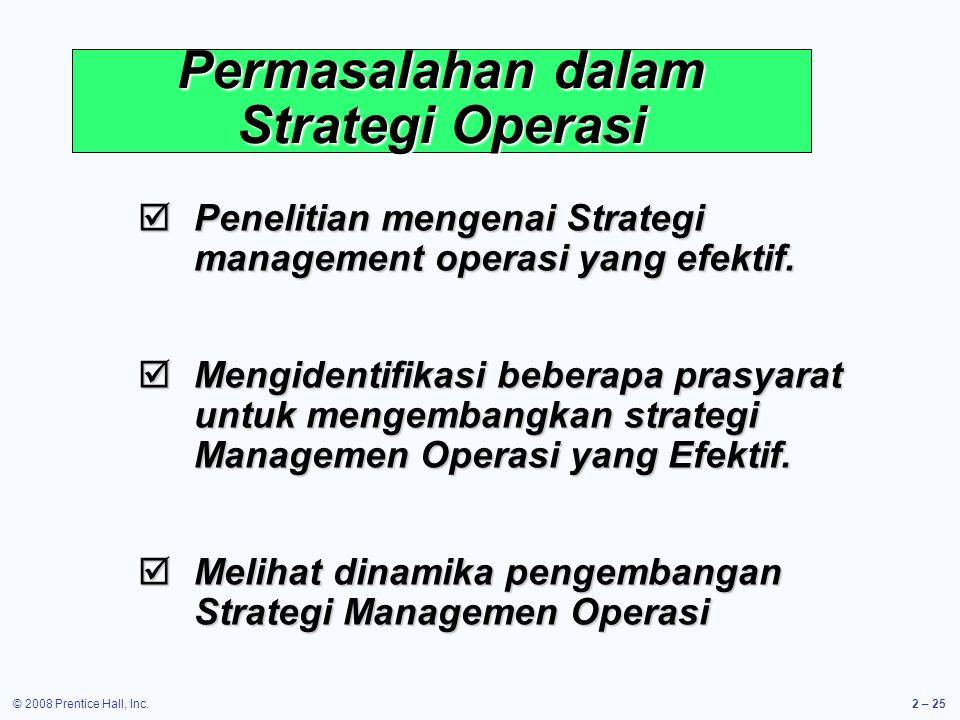 Permasalahan dalam Strategi Operasi