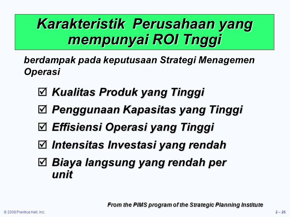 Karakteristik Perusahaan yang mempunyai ROI Tnggi