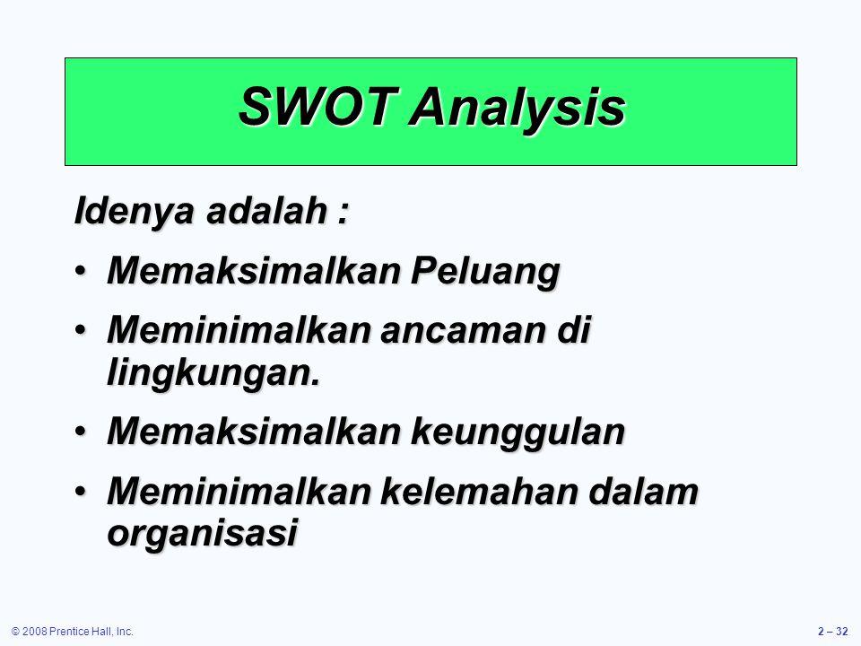 SWOT Analysis Idenya adalah : Memaksimalkan Peluang