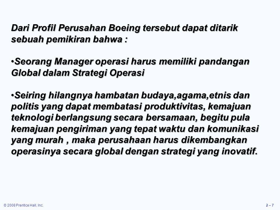Dari Profil Perusahan Boeing tersebut dapat ditarik sebuah pemikiran bahwa :