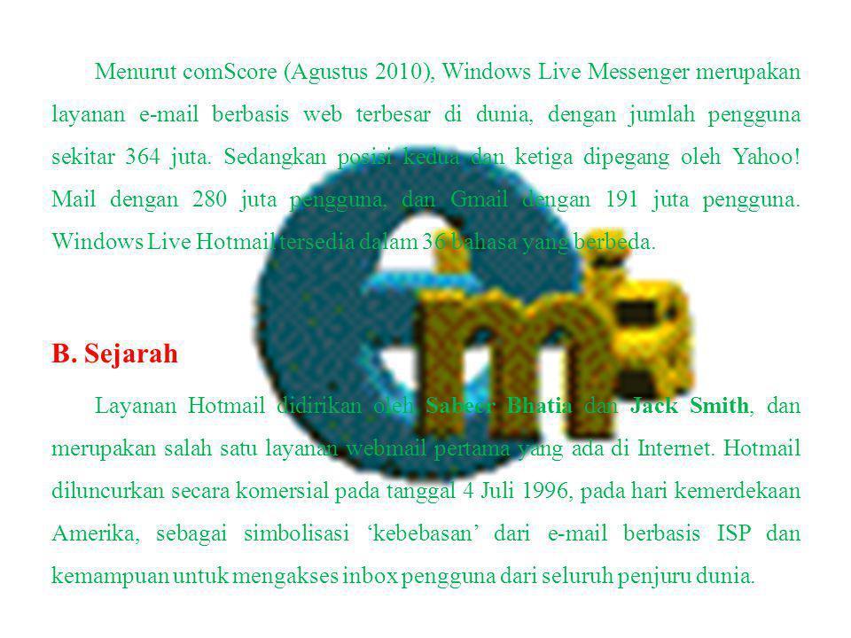 Menurut comScore (Agustus 2010), Windows Live Messenger merupakan layanan e-mail berbasis web terbesar di dunia, dengan jumlah pengguna sekitar 364 juta. Sedangkan posisi kedua dan ketiga dipegang oleh Yahoo! Mail dengan 280 juta pengguna, dan Gmail dengan 191 juta pengguna. Windows Live Hotmail tersedia dalam 36 bahasa yang berbeda.