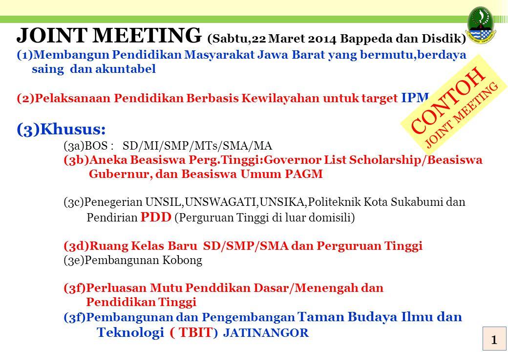 JOINT MEETING (Sabtu,22 Maret 2014 Bappeda dan Disdik)
