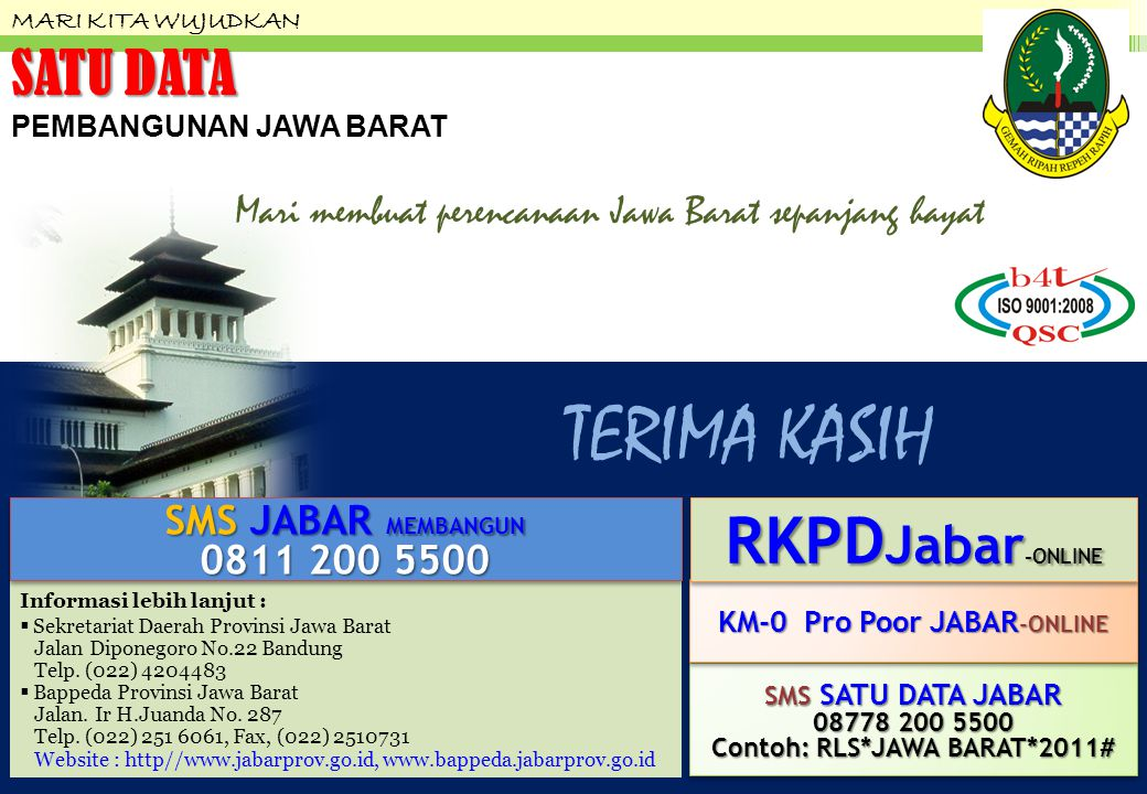 KM-0 Pro Poor JABAR-ONLINE Contoh: RLS*JAWA BARAT*2011#