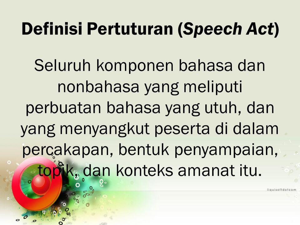 Definisi Pertuturan (Speech Act)