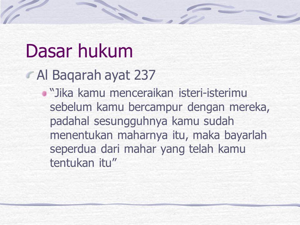 Dasar hukum Al Baqarah ayat 237