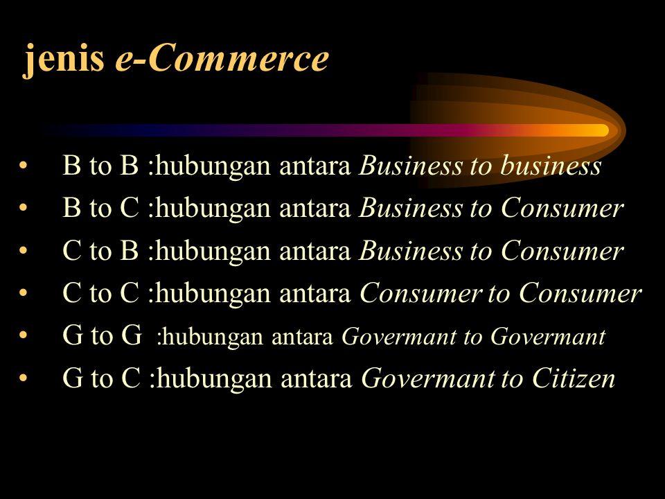 jenis e-Commerce B to B :hubungan antara Business to business