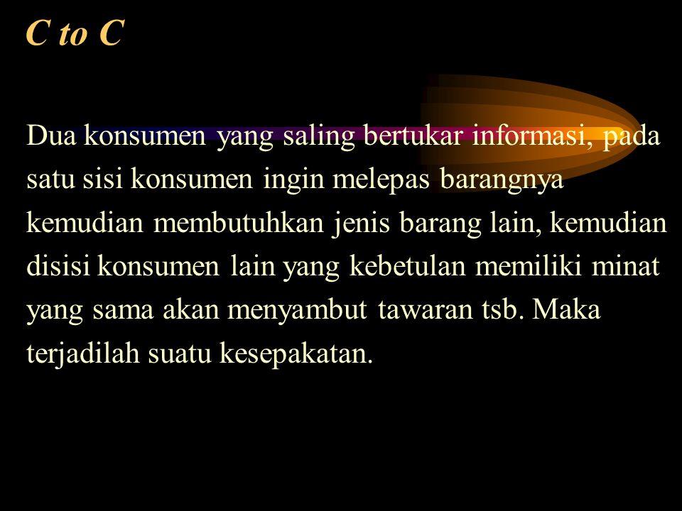 C to C Dua konsumen yang saling bertukar informasi, pada