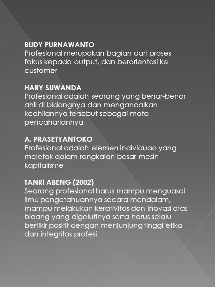 BUDY PURNAWANTO Profesional merupakan bagian dari proses, fokus kepada output, dan berorientasi ke customer.