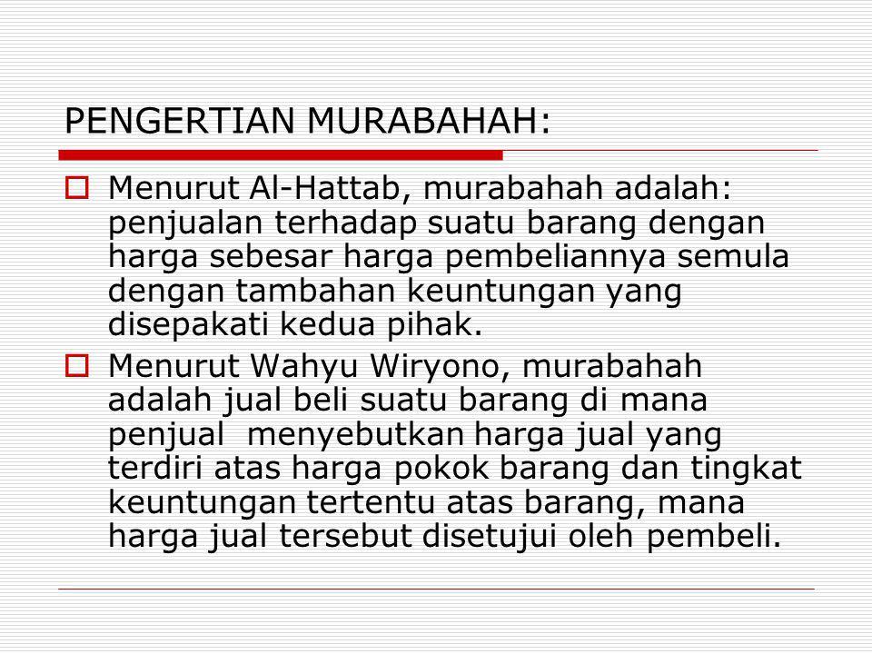 PENGERTIAN MURABAHAH:
