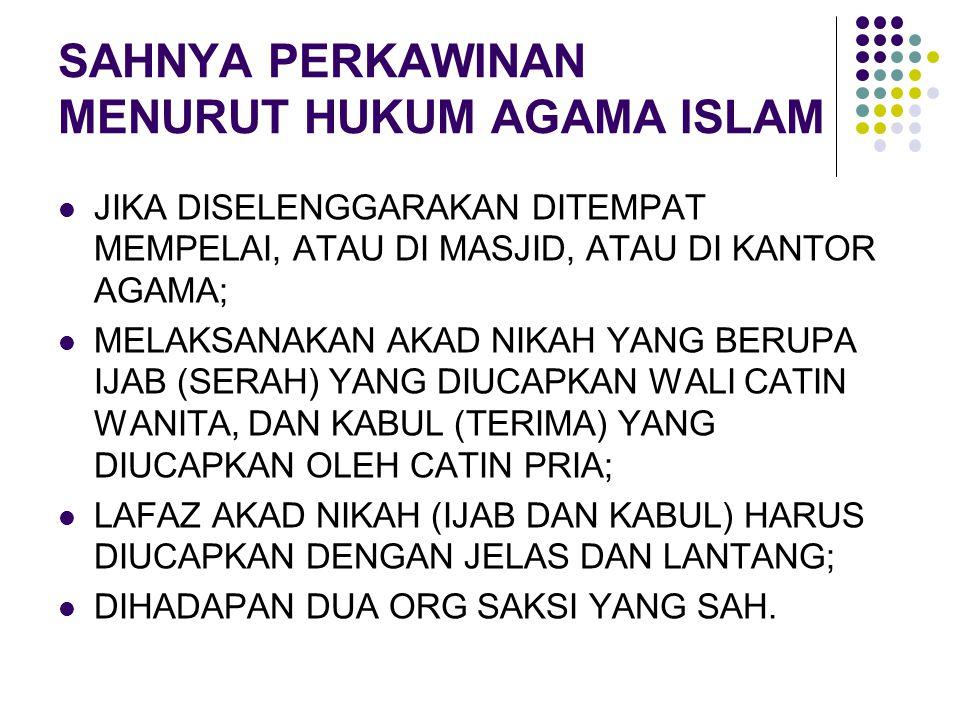 SAHNYA PERKAWINAN MENURUT HUKUM AGAMA ISLAM