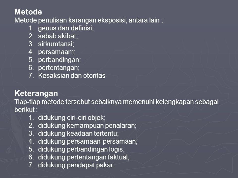Metode Keterangan Metode penulisan karangan eksposisi, antara lain :