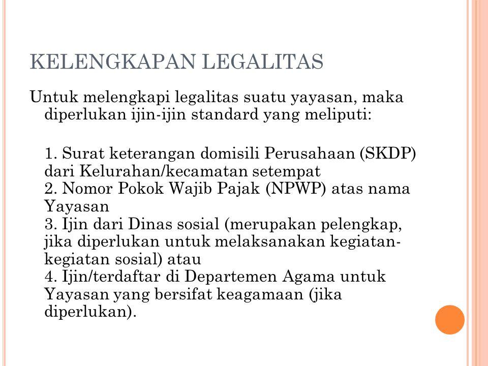 KELENGKAPAN LEGALITAS