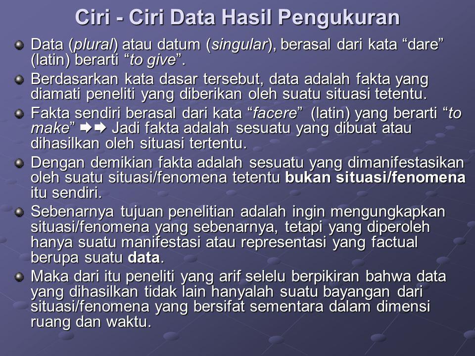 Ciri - Ciri Data Hasil Pengukuran