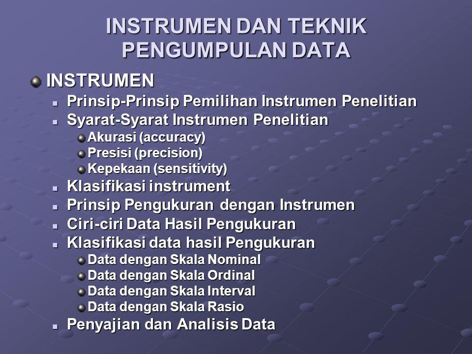 INSTRUMEN DAN TEKNIK PENGUMPULAN DATA