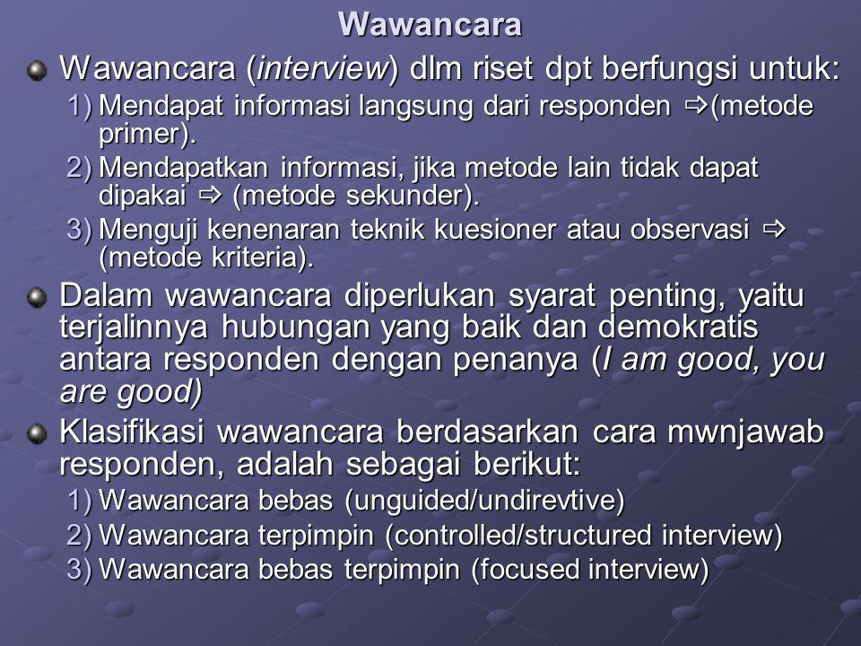 Wawancara (interview) dlm riset dpt berfungsi untuk: