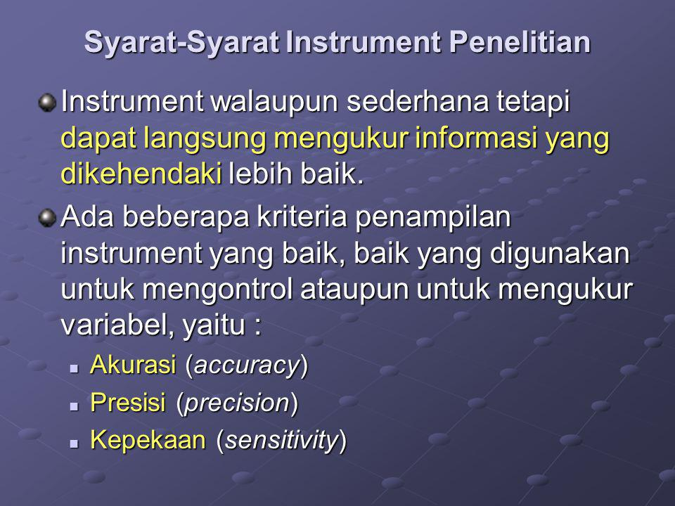 Syarat-Syarat Instrument Penelitian